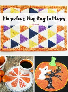 If you've never heard of a mug rug before, you're in for a treat! A mug rug is a tiny quilt just big enough for a mug of something warm and soul-satisfying and a sweet treat. This list of 22 Marvelous Mug Rug Patterns has all the ideas you need. Mug Rug Patterns, Quilt Patterns Free, Applique Patterns, Applique Quilts, Canvas Patterns, How To Make Placemats, Quilting Projects, Sewing Projects, Christmas Mug Rugs