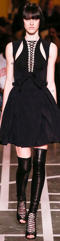 Givenchy.Spring 2015 ill take it all. loue dress cutouts simplicity basically boots or shoes loue style of them and this is a great line ouerall loue the kind of string lacing idea