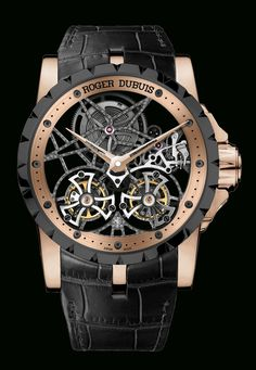 Excalibur skeleton double flying tourbillon relógio em pt.Presentwatch.com