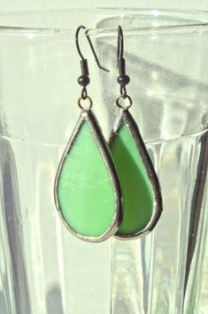 Green Stained Glass Teardrop Earrings w/ Black Hooks Stained Handmade Jewelry, Unique Jewelry, Handmade Gifts, Green Earrings, Teardrop Earrings, Glass Jewelry, Glass Ornaments, Stained Glass, Hooks