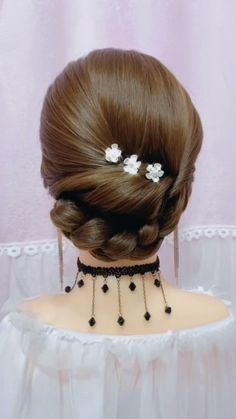 Bun Hairstyles For Long Hair, Headband Hairstyles, Summer Hairstyles, Girl Hairstyles, Wedding Hairstyles, Curly Hairstyle, Hair Up Styles, Medium Hair Styles, Hair Videos