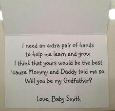 This is how I asked my friend to be the godfather of my daughter