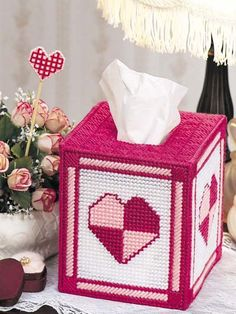Plastic Canvas - Valentine's Day - Patchwork Hearts Tissue Topper & Jeweled Plant Poke, FreePattrrns.com