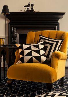 Geometric prints and Scandi yellow tones