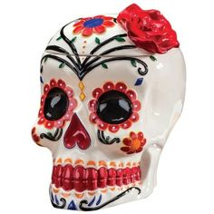 What better place to store your Dia de los Muertos goodies than a traditional sugar skull cookie jar? Hand painted ceramic skull is tall with room for plenty of candy cookies or favorite treats of the dearly departed. Crane, Halloween Trees, Haunted Halloween, Sugar Skull Art, Sugar Skulls, Westland Giftware, Day Of The Dead Art, All Saints Day, Flower Skull