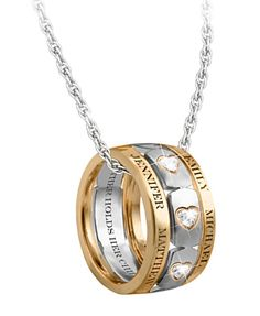 """Mom's Forever Love Personalized Necklace with up to 6 kids names.  The inside is engraved, """"A mother holds her children's hearts forever""""."""