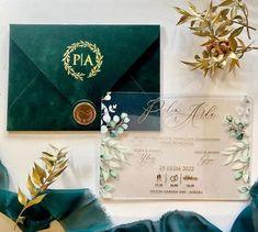 Wedding Invitation. Luxury Green Velvet Envelope with Elegant | Etsy Acrylic Wedding Invitations, Wedding Invitation Samples, Invite, Original Wedding Invitations, Invitation Suite, Letterpress Invitations, Invitation Birthday, Shower Invitation, Design Floral