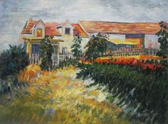 House with Sunflowers - Vincent van Gogh Paintings Gardner Museum, Van Gogh Art, Van Gogh Paintings, Oil Painting Reproductions, Vincent Van Gogh, Oil Painting On Canvas, Hand Painted, Sunflowers, Pretty Girls