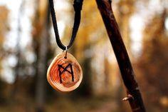 Nordic  Pagan  Viking wood MANNAZ rune amulet by LoitsuCrafts