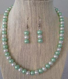 Seafoam Green Pearl Necklace Seafoam Wedding by CherishedJewelryCo, $24.00