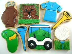 Golf Tips Wrist Hinge Golf Cookies, Iced Cookies, Cut Out Cookies, Sugar Cookies, Golf Theme, Sugar Cookie Frosting, Golf Party, Hole In One, Birthday Cookies