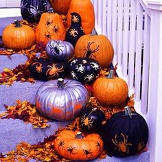 """""""Does anyone paint their pumpkins? I just either leave my pumpkins or carve them!   #pumpkin #pumpkins #decorations #Halloween #halloweeniscoming #awesome #beautiful #purple #orange #black #leaves"""" Photo taken by @hauntedwoodsinoctober on Instagram, pinned via the InstaPin iOS App! http://www.instapinapp.com (10/10/2015)"""
