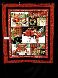 Little Red Truck Quilt Panel Quilted Fabric Panel