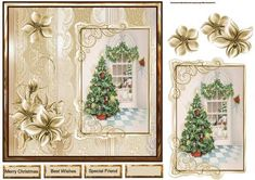 Christmas tree 7x7 card with decoupage on Craftsuprint designed by Angela Wake - Christmas tree 7x7 card with decoupage with sentiment tags - Now available for download!