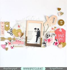 The Hip Kit Club Monthly Scrapbook Kit Club offers the best monthly Embellishment, Paper, Cardstock, Project Life and Color Scrapbook Kits! Scrapbook Examples, Scrapbook Page Layouts, Scrapbook Albums, Scrapbook Cards, Paper Bag Scrapbook, Hip Kit Club, Crate Paper, Wedding Scrapbook, Layout Inspiration