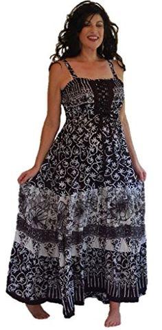 c28640558f Lotustraders Maxi Dress Lace Up Patched Comb Smocked Lacing Batik Black  White 3X l230