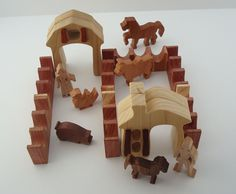 Miniature Farm Waldorf Wood Toy Play Set 18