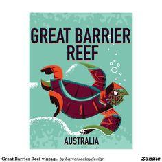 Great Barrier Reef vintage travel poster. Postcard