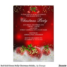 Red Gold Green Holly Christmas Holiday Party.  Personalize for your party needs.
