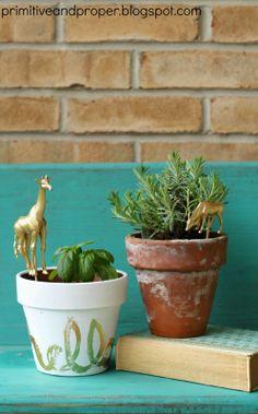 Primitive & Proper: How to Make Gold Animal Plant Picks