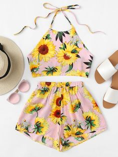 To find out about the Sunflower Print Crop Halter Top With Shorts Set at SHEIN, part of our latest Two-piece Outfits ready to shop online today! Teenage Girl Outfits, Girls Fashion Clothes, Teenager Outfits, Teen Fashion Outfits, Outfits For Teens, Cute Comfy Outfits, Cute Girl Outfits, Cute Summer Outfits, Pretty Outfits