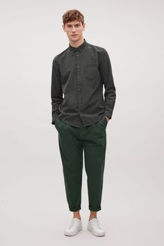 COS image 1 of Button collar shirt in Forest Green