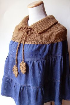 The Old-Meets-New / REPURPOSED Denim Knit Poncho $65 at etsy