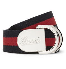 Gucci Striped Canvas Belt | MR PORTER
