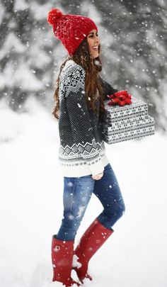 This sweater is so cute with this red knit hat and matching red rain boots for winter You need these cute winter outfits in your closet right now! These winter outfit ideas are perfect for the cold weather and super trendy. Cute Christmas Outfits, Cute Winter Outfits, Fall Outfits, Winter Clothes, Christmas Sweaters, Outfit Winter, Christmas Clothes, Casual Outfits, Snow Outfit