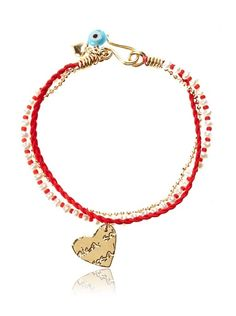 Gold and Red Beaded Heart Bracelet