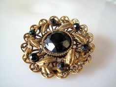 Antique Gold Finish Vintage West Germany Style Brooch Estate Jewelry