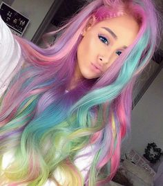 Colorful Hair ! Love Ari ! Ariana grande ! Favorite