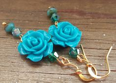 Something Blue! Boho chic blue rose earrings - Bridesmaid gifts, Valentine's Day, Anniversary, Birthday, Mother's Day, girlfriend gift, OOAK by IpanemaGirlShop on Etsy