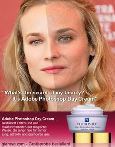 Diane Kruger. The photoshopped image compared to the image without photoshop.