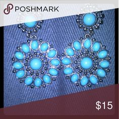 Silver and Blue Earrings on Poshmark! My username is: onelove2017. #shopmycloset #poshmark #fashion #shopping #style #forsale #Jewelry