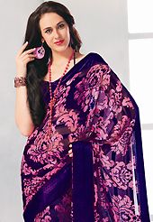 An casual wear perfect is ready to rock you. This dark blue and pink brasso faux georgette saree is simply designed with flower and dot print work. This beautiful saree is used for casual porpose which gives you a singular and dissimilar look. Color blend of this saree is nice. Matching blouse is available with this saree. Slight color variations possible due to differing screen and photograph resolution.