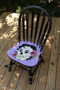 Day of the Dead Chair--maybe make a stencil and collect old chairs