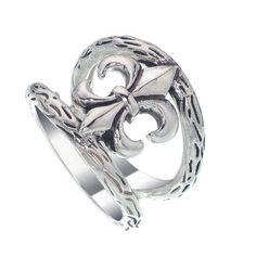 Fleur de lis Claddagh Triquetra .925 Sterling Silver Ring par Peter Stone bijoux