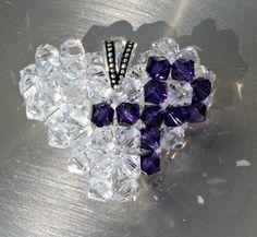 Purple Awareness Ribbon Heart Pendant, Floating Swarovski Crystal Heart Necklace, Handmade Awareness Heart Charm, For Your Cause. $20.00, via Etsy.