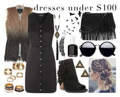 """""""Dresses Under $100 #2"""" by kennm24 ❤ liked on Polyvore featuring Unreal Fur, Topshop, Anna e Alex, Qupid, White House Black Market, Bar III, Forever 21, Apt. 9 and Essie"""