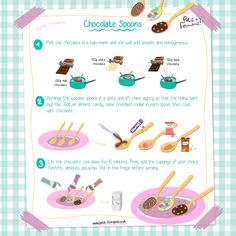 Chocolate spoons recipe Kids Cooking Recipes, Chef Recipes, Easy Cooking, Easy Recipes, Chocolate Spoons, Chocolate Recipes, Easy Meals For Kids, Kids Meals, Organic Cooking