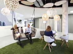 28_First Floor_Meet & Create_Informal Area_Green Lounge. Looking for something similar? City Lighting Products can help!  https://www.linkedin.com/company/city-lighting-products