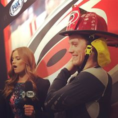 Dec. 11 @ Anaheim: Admiring the beauty of the hat trick... All smiles for @JeffSkinner earning the helmet. Good win for the @NHLCanes