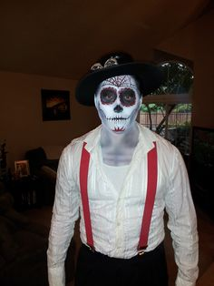 Men's Dia los muertos makeup. Sugar skull. Halloween. Day of the Dead