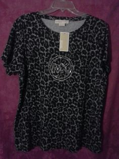 NWT! MICHAEL KORS Faux Lace Bling SignatureTop 1X Pearl Heather Black Grey $69 #MichaelKors #Top