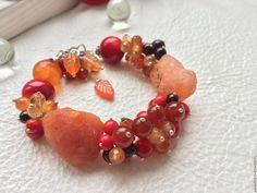 """Купить Браслет """"Осенняя мелодия"""" - комбинированный, Браслет ручной работы, браслет из камней, браслет с сердоликом"""