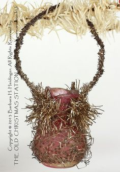 THE OLD CHRISTMAS STATION - hanging vase :: unsilvered :: pink Victorian ornament :: wire wrapped :: free blown glass :: tinsel :: Lametta :: antique Christmas decoration :: Dresden Paper :: Cotton :: Kugels :: German Santa :: Sebnitz :: vintage