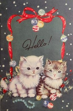 1950s Christmas card kittens
