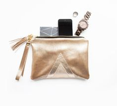 Gold Leather Wristlet, Metallic Evening Clutch, Shiny Leather Purse, Wedding Bridesmaids Gift, Geometric Art Deco Purse