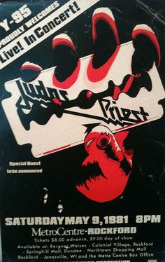 Judas Priest Concert Poster https://www.facebook.com/FromTheWaybackMachine/